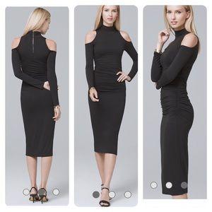 New! WHBM COLD-SHOULDER BLACK SHEATH DRESS